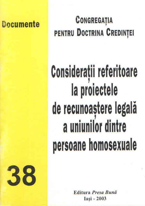 Consideraţii referitoare la proiectele de recunoaştere legală a uniunilor dintre persoane homosexuale